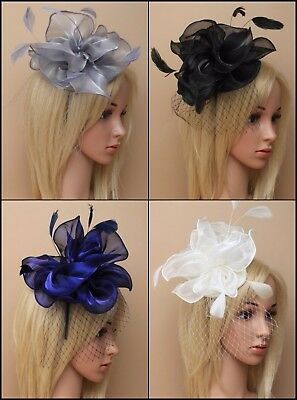 Chiffon Flower Feather & Net Alice Band Fascinator Wedding Races Occasion Party