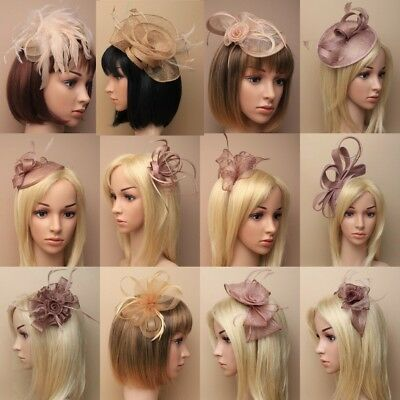 Brown Gold Fascinator Wedding Races Prom Ascot Occasion Mocca Coffee Wholesale