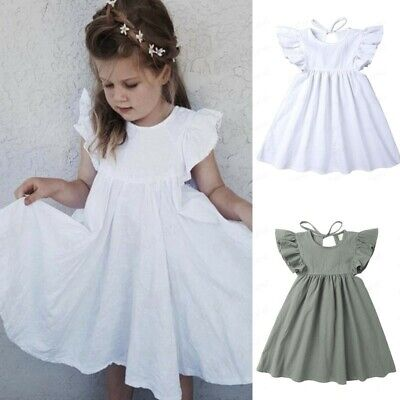 Infant Kids Baby Girl Linen Ruffle Princess Casual Beach Dress Outfits Clothes