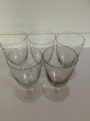 5 x antique glass etched fern leaf design glasses or custard jelly moose cups