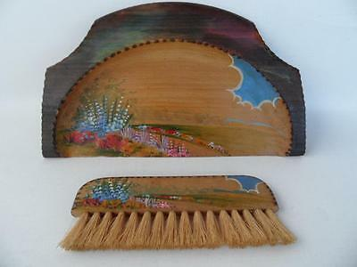 Antique Vintage Wooden Hand Painted Floral Crumb Tray & Brush Set