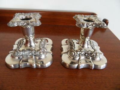Antique Pair William Suckling Silver plate on copper candlesticks Candle sticks