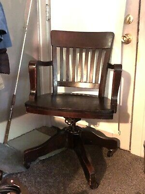 Antique Milwaukee Chair Co Rolling Swivel Tilt Solid Wood Chair Pat Oct 20,1914