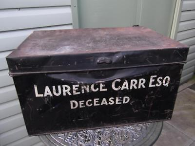 Large Vintage Metal Deed Box Storage Tin Chest #19 Signwritten Laurence Carr