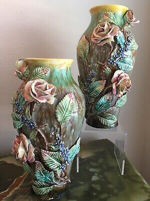 LARGE PAIR Antique French Barbotine Majolica Vase Rose Flowers Pottery C1800's