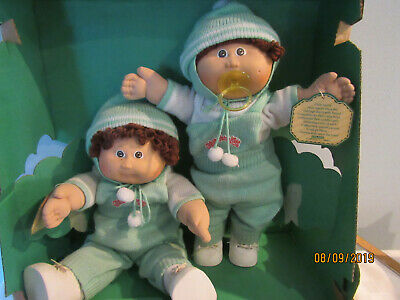 Nice Vintage Cabbage Patch 1985 Twins W/Original Box Pacifier Baby One Toothy!