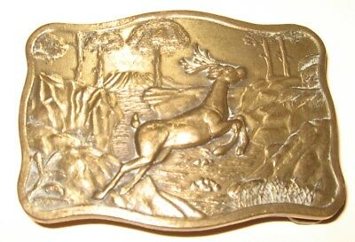 Vintage - Deer Jumping Over Stream  Solid Brass  Belt Buckle