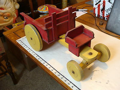 vintage Wooden toy: LARGE WOODEN HORSE DRAWN DUMPING WAGON, no horses