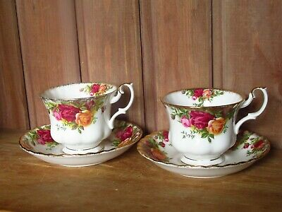 2 Vintage Royal Albert China Old Country Roses Teacup And Saucer Duos Floral