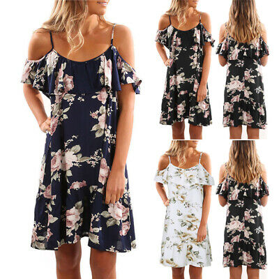 Women Casual Floral Boho Sundress Lady Cold Shoulder Strapped Mini Dress Summer