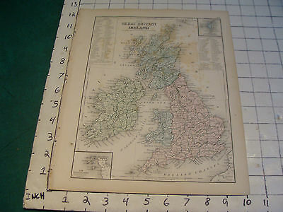 Vintage Original 1866 Mitchell Map: GREAT BRITAIN IRELAND # 30 aprox 10 X 12""