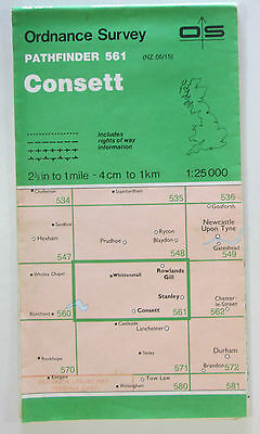 1990 old vintage OS Ordnance Survey 1:25000 Pathfinder map 561 Consett NZ 05/15