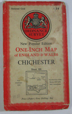 1947 Vintage OS Ordnance Survey One-Inch New Popular Edition Map 181 Chichester