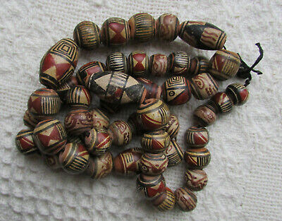 Antique Old Peru Latin America Clay Pottery Bead Necklace 49 Beads Hand Painted