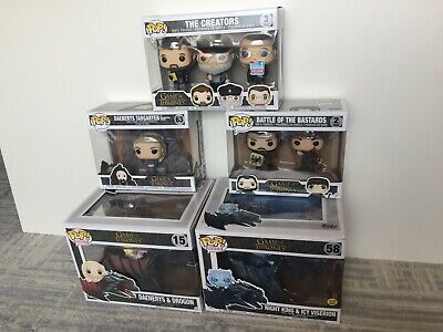 Funko Pop! Game of thrones box set lot Daenerys Drogon Viserion Creators con ex+