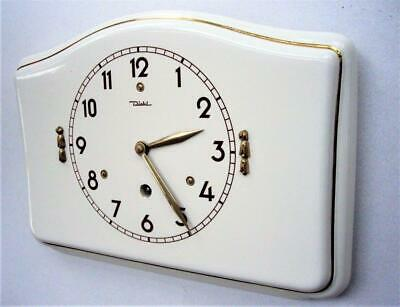 Large Art-Deco Ceramic 8-Day Wall Clock - Working