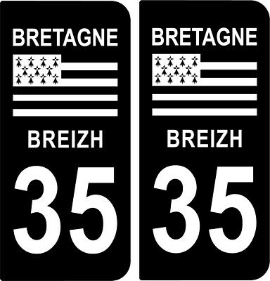 2 Stickers Noir Plaque Immatriculation Departement 35 Logo Region Bretagne Bzh