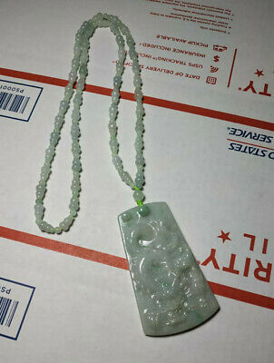Grade A 100% Natural Genuine Burmese Jadeite Jade dragon Pendant Necklace #6688