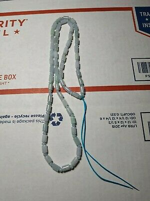 100% Natural Genuine Burma Jadeite Jade circular column Beaded Necklace A#18