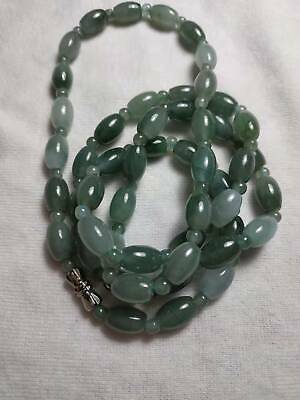 Grade A 100% Natural Genuine Burma Jadeite Jade Beaded Necklace #186