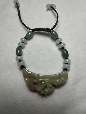 100% Natural Burmese Jadeite Jade Adjustable Woven Beaded Bracelet Grade A #7888