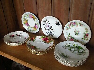 Mixed Lot Of 16 Vintage Royal Albert Coffee Saucers Old Country Rose Lavender ..