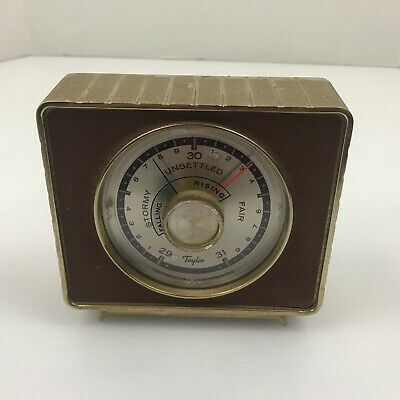 Vintage Taylor Art Deco Brass Barometer and Weather Forecaster *As Is* 3.E3
