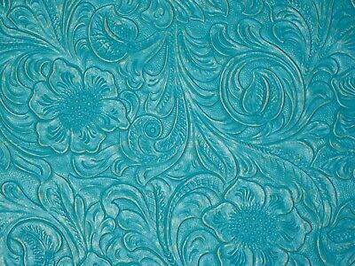 "**VINYL** TURQUOISE Western Floral Faux Leather 18""x27"" #7564"