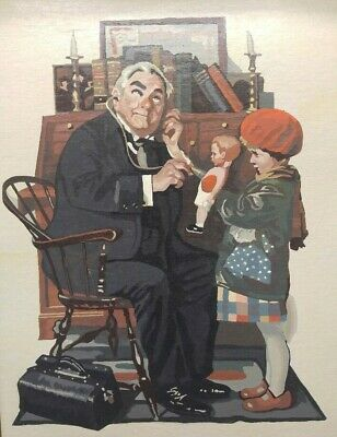 Old Vintage Paint By Numbers Painting Norman Rockwell Doctor Examining Doll