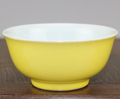 chinese old handmade Yellow glaze porcelain bowl 04370
