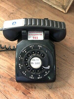 1950's Vintage Black Rotary Desk Phone Bell Systems by Western Electric