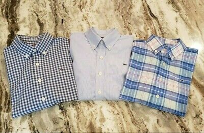 Lot of three Vineyard Vines Long Sleeve Button Down Whale Shirts Boys Large (16)