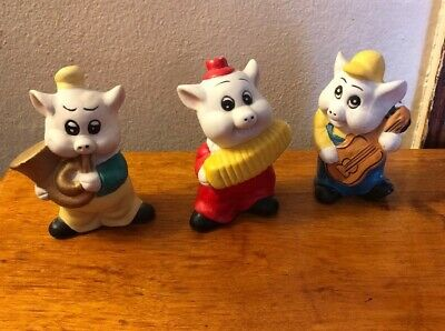 Lot Of 3 Vintage Ceramic Musical Pigs Collection , piggy figurines - VERY GOOD