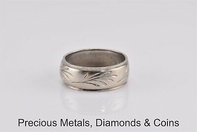 Antique Sterling Silver 7.5mm Etched Floral Patterned Band Ring 925 Sz: 8