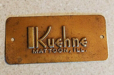 Vintage KUEHNE Furniture BRASS TAG / Badge / Name Plate MATTOON ILL Old Stock L1