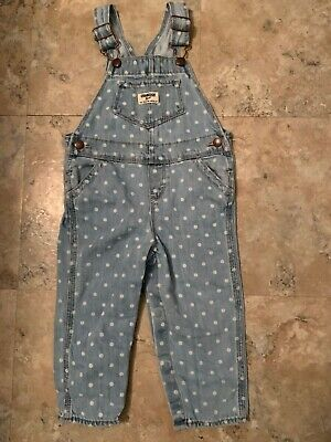Girls Osh Kosh B'Gosh overalls polka dot 24 mo denim