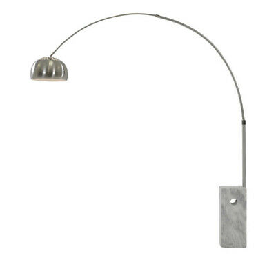 marble base floor lamp. Stainless steel arch pole. Metal dome shade.
