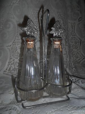Vntg Mikasa Crystal Ribbed Glass w/SilverPlate Grape & Leaf Stoppers Cruet Set