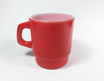 Vintage Red Milk Glass Mug Anchor Hocking Made in USA Oven Proof Coffee Cup