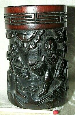 Antique Bamboo Wood Chinese CArved BRUSH POT PEN HOLDER Man with Servant 6.8CmT