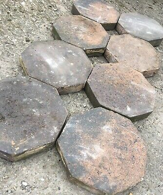 Scarce Octagonal Reclaimed Antique Victorian Chunky Brindle Quarry Tiles