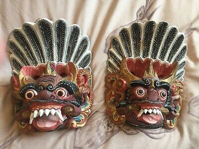 Pair Oriental Japanese Chinese Dragon Dog Lion Wooden Antique Masks Wall Face
