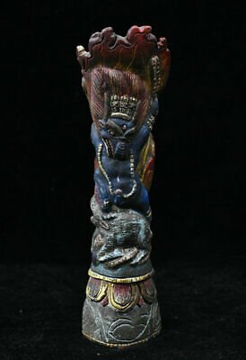 "7"" Old Chinese Wood Painted Carving Buddha Yamantaka Yama Dharmaraja Sculpture"