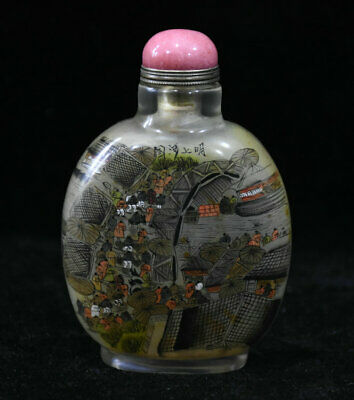 "4"" Old Chinese Palace Colored Glaze Painted Handmade Figures Houses snuff bottle"