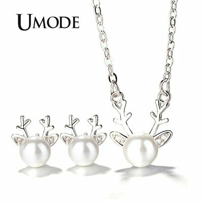UMODE Small Deer Cute Pearl Studs Earrings Long Chain Necklaces Pendants Jewelry