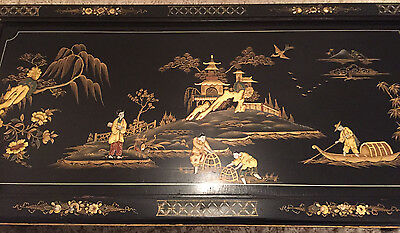 Antique Black Japanned Lacquered Hand Painted Chinoiserie Coffee Table
