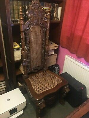 Vintage Gothic Carved Throne Chair