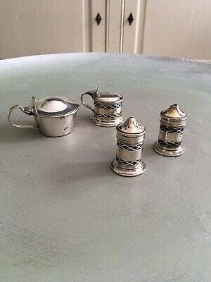 Vintage Silver Plate, Salt & Pepper, Mustard Set Etc