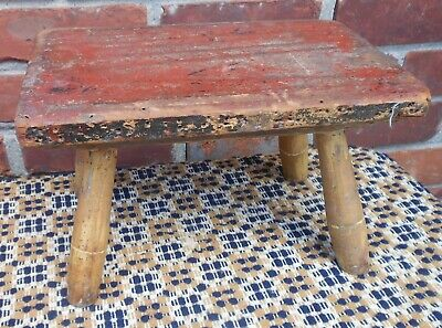 Good Cricket Footstool, Turned Legs, Chamfered Top, Traces Red & Yellow Paint