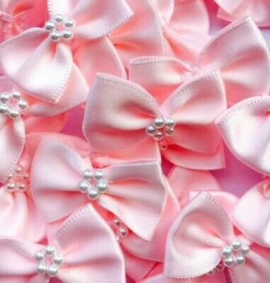 Pack of 10 - BABY PINK 3.5cm Satin Ready Made Mini Ribbon and Pearl Craft Bows